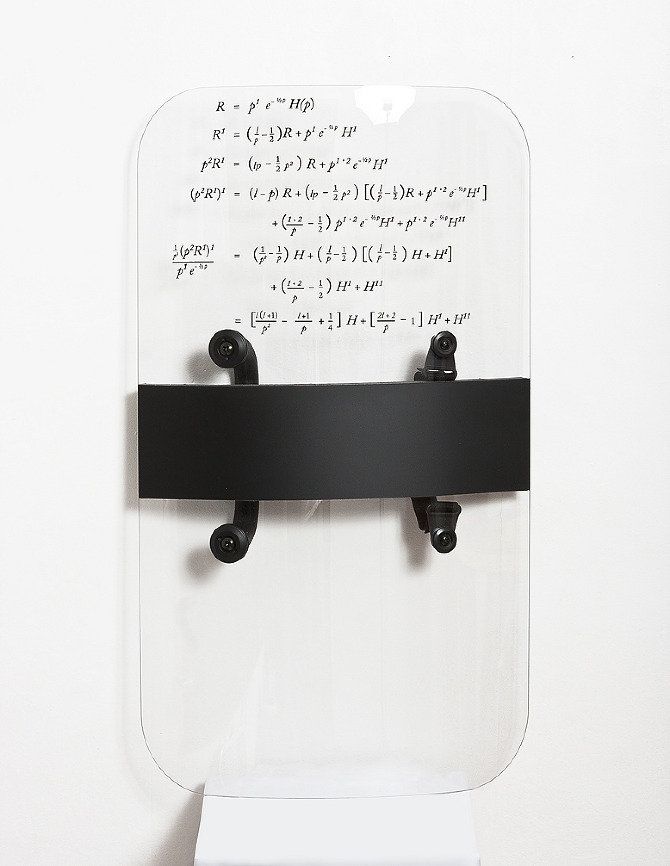 """Riot shield with complex mathematical equation used in financial markets containing derivative investment instruments"" by Justin Kemp, 2012"