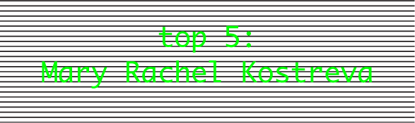 Mary Rachel Kostreva DINCA top5