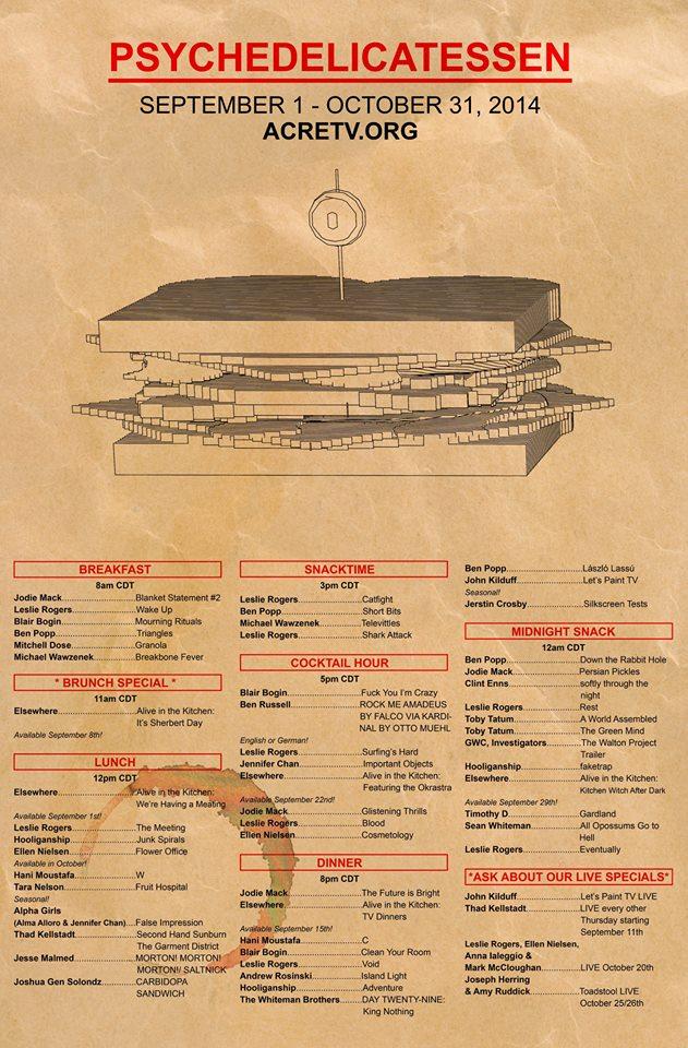 ACRE TV presents: Psychedelicatessen. poster by Kera MacKenzie & Andrew Mausert-Mooney & Matt Mancini