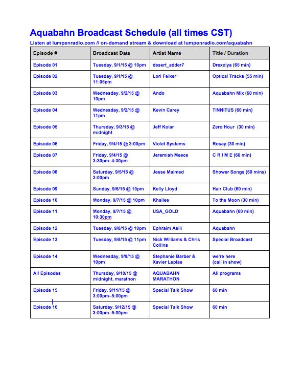 aquabahn radio schedule