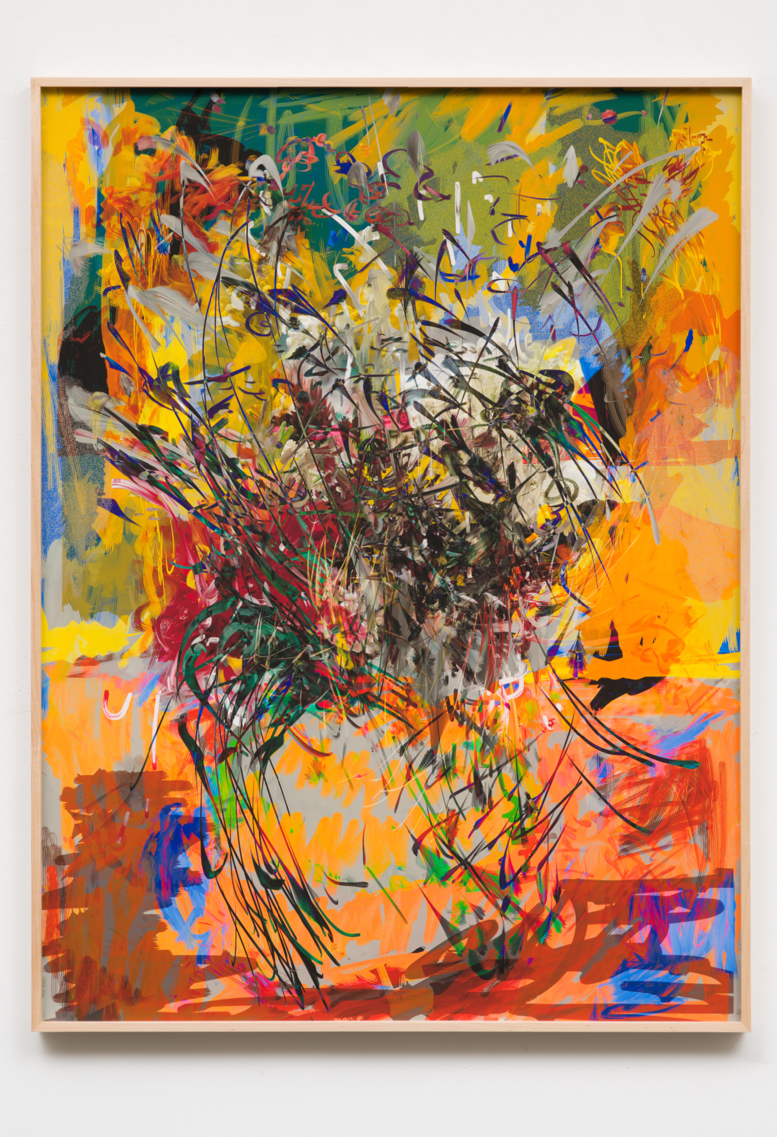 """brakes+bikes"""" CABLE AND TV AND GUIDE Dollarkurs, 2018 by Petra Cortright digital painting on sunset hot press paper 48 × 36 in121.9 × 91.4 cm"""