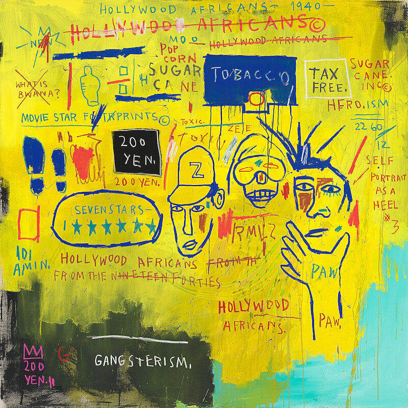 Hollywood Africans, Jean-Michel Basquiat, 1983, acrylic and oil stick on canvas, 84 1/16 × 84in. (213.5 × 213.4 cm)