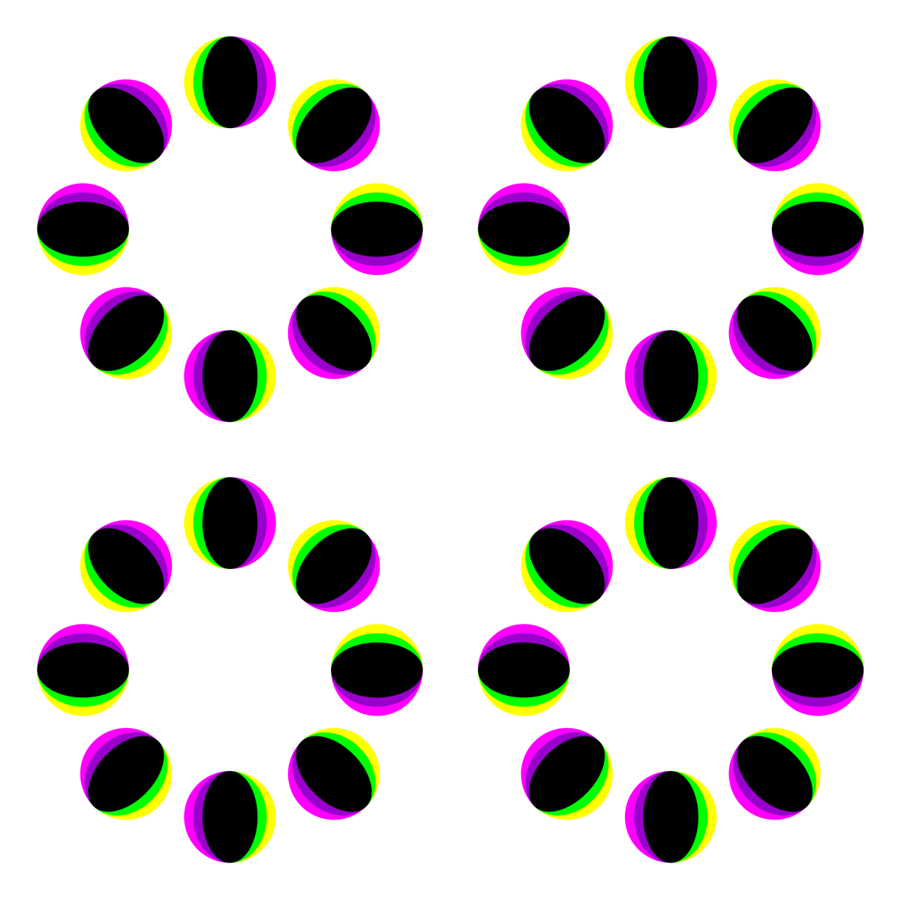 """Rotating rings of mari balls"" by Akiyoshi Kitaoka"